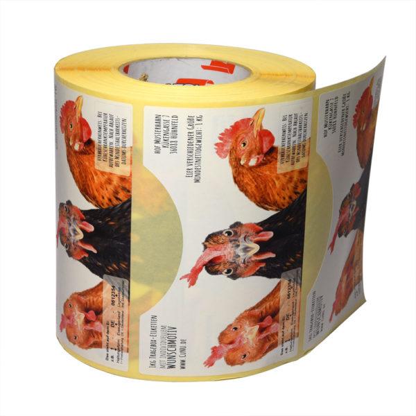 1kg Eier Tragebox-Etiketten auf Rolle