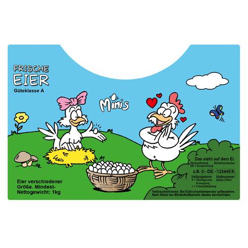 """Cartoon """"Minis"""" - Etikett für die Eier-Tragebox von Schmutte.com"""