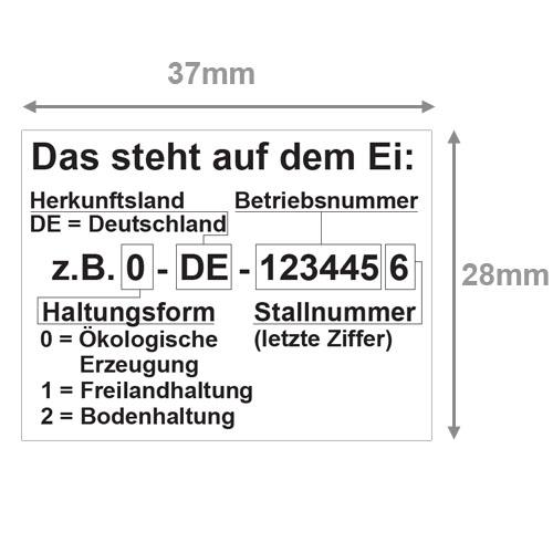 Eiercodeerklärung nachrüsten mit 37x28mm Etiketten