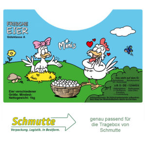 """500 Etiketten für den Eier-Tragekarton von Schmutte - Cartoonmotiv """"Minis"""""""