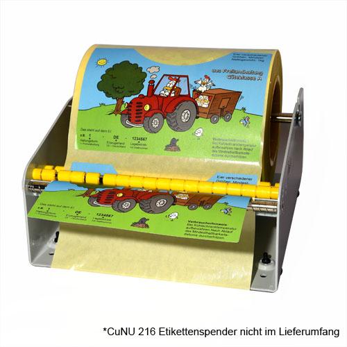 Etikettenspender für Rollenetiketten bis 216mm Breite.