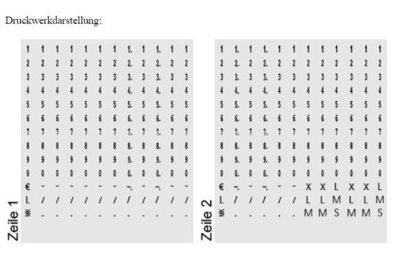 Druckwerkdarstellung des Eieretikettenstempels.
