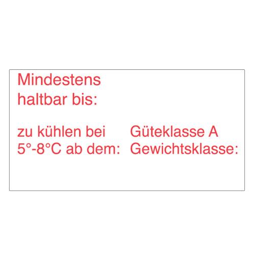 Eierschachteletiketten für MHD, Kühldatum, Gewichtsklasse, Güteklasse A