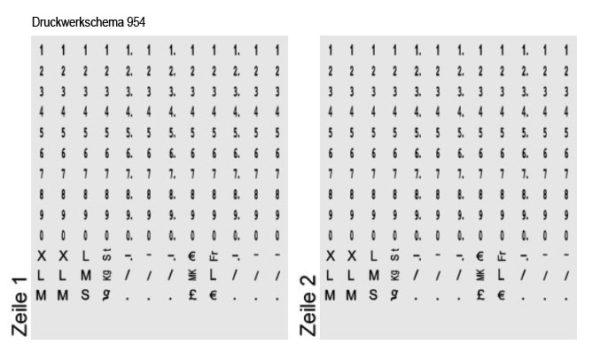 Druckwerkschema des Etikettenstempels für Kühldatum und Mindesthaltbarkeitsdatum