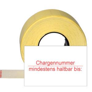rechteckige Etiketten mit Chargennummer + mindestens haltbar bis